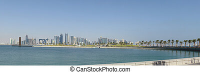 Doha city skyline from Museum Park - The Doha, Qatar, 21st...