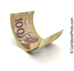 Curled Up Canadian Dollar isolated with clipping path