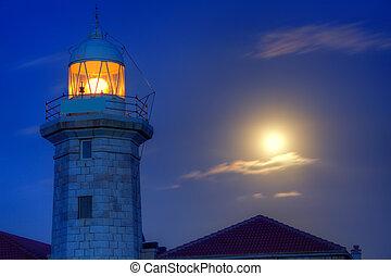 Ciutadella Menorca Punta Nati lighthouse moon shine -...
