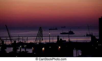 sunrise in the harbor of Odessa