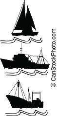 fishing, trawlers and ship that sails deep