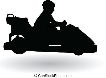 boy driving electric car