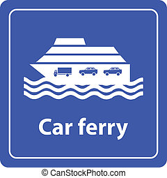 car ferry and harbor sea sign vector