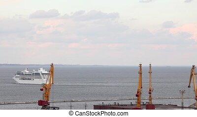 Ocean cruise ship leaves the port of Odessa, Ukraine, FULL...