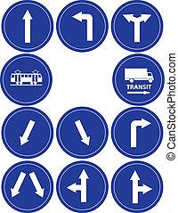 trafik, riktning, undertecknar