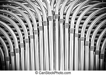 Pipes chairs abstract background