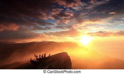 sunrise in the mountains Ai-Petri. Alupka, Crimea, Ukraine....