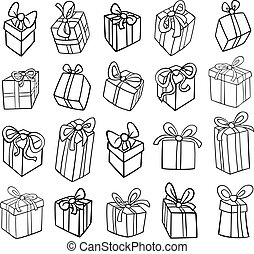christmas or birthday gifts coloring page - Black and White...