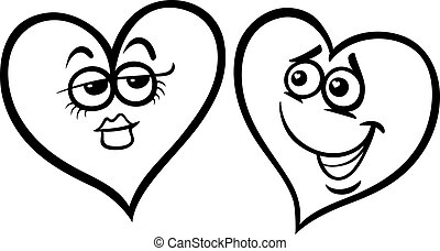 hearts in love cartoon coloring page