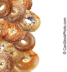 Bagels Isolated On White Background - Assortment Of Bagels...