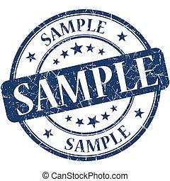 Sample grunge blue round stamp