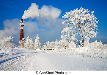 winter day and industrial air pollution - beautiful winter...
