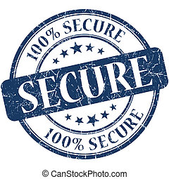 Secure grunge blue round stamp