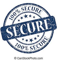 Secure grunge blue round stamp