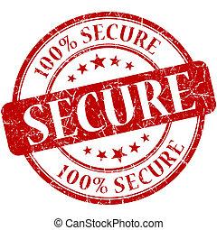 Secure grunge red round stamp