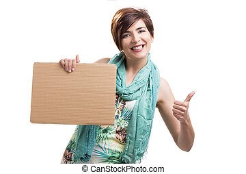 Beautiful woman with a cardboard - Beautiful and happy woman...