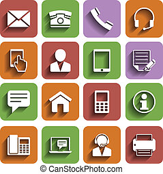 Contact Us Icons Set With Shadow