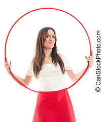woman and red hoop - attractive woman and red hoop on a...