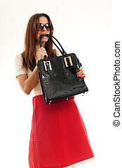 woman with leather bag - attractive fashionable woman with...