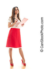 woman making notes in her binder - attractive young...