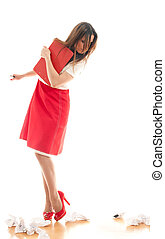 woman pulling out sheets - Attractive business woman pulling...