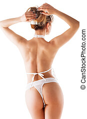 naked woman in a bikini on white background