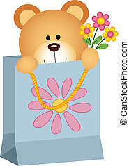 Teddy Bear inside a Gift Bag - Scalable vectorial image...