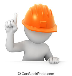 attention worker points finger up image with a work path