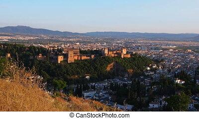 Granada, Spain - Cityscape of Granada with a view of famous...
