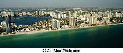 Miami Beach Seashore - Aerial view of the seashore in Miami...