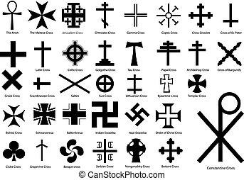 Crosses illustration set - A vector set of different kind of...