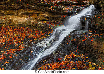 Cascading Autumn Waterfall - Whitewater cascades down rock...