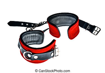 Red handcuffs  - Red leather handcuffs on white background
