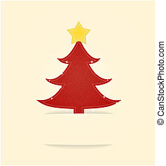The Christmas card with red tree
