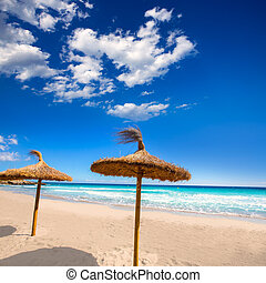 Menorca sunroof row tropical beach at Balearic islands of...