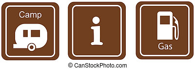 tourist information sign - tourist information, gas and...