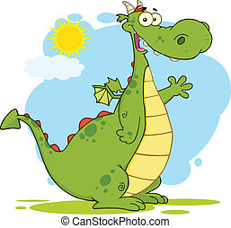 Green Dragon Character Waving - Green Dragon Cartoon Mascot...