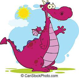 Purple Dragon Character Waving - Purple Dragon Cartoon...