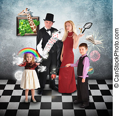Magician Family with Tricks and Games - A family is...