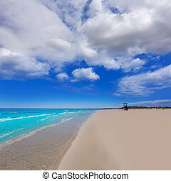 Alaior Cala Son Bou in Menorca turquoise beach at Balearic...