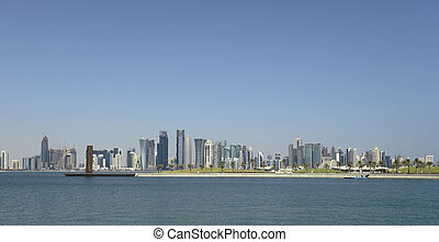 Doha skyline panorama - Doha skyline seen from the Museum...