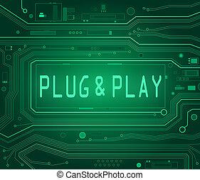 enchufe, juego, concepto