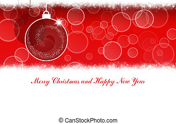 Merry Christmas and Happy New Year red background with Christmas balls
