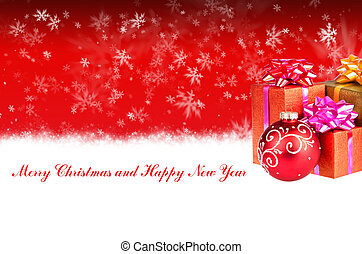 Merry Christmas and Happy New Year red background with Christmas gifts