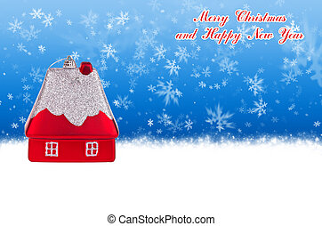 Merry Christmas and Happy New Year blue background with...