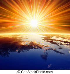 Sun above Earth - Abstract religious backgrounf - bright sun...