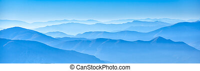 misty horizons blue tones - macedonian mountain