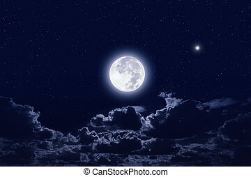 Full moon in dark night sky with stars and clouds. Elements...