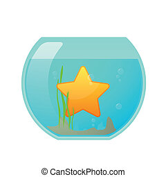 Fishbowl with a star - Illustration of an isolated fishbowl...