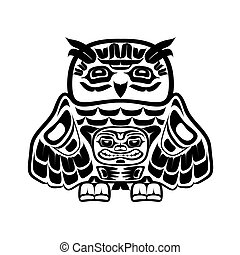 North american native art, owl - Vector illustration of an...